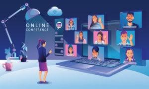 Businessmen use Video conference landing Working